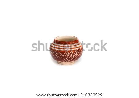 Jug or jar ceramic glaze on white background