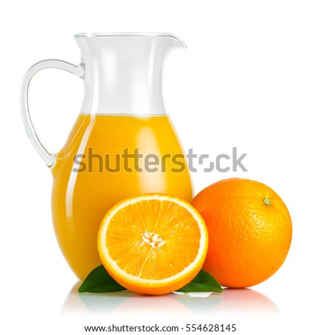 Jug with orange juice and fruits with green leaves isolated on white background