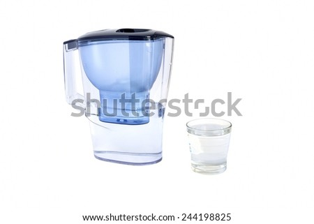 jug with water filter isolated on white background - stock photo