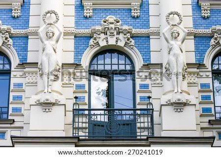 Jugendstil house in  the Alberta street in Riga, Latvia. - stock photo