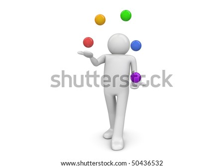 Juggler (3d characters isolated on white background series) - stock photo