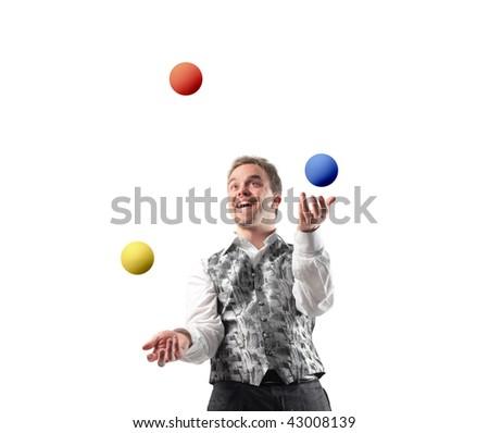 juggler playing with balls - stock photo
