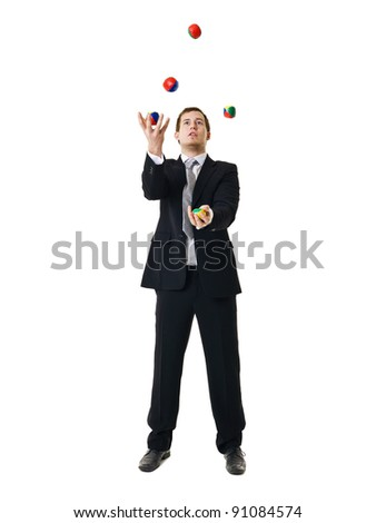Juggling businessman isolated on white background - stock photo