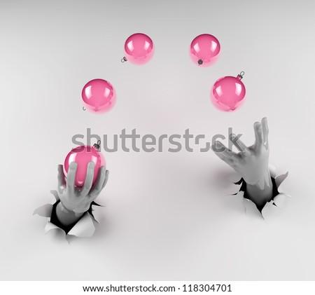 Juggling Christmas toys - stock photo