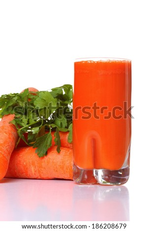 Juice and carrot isolated white kitchen prepare - stock photo