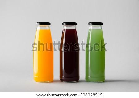 Raw Vegetable Fruit Juices Glass Bottles Stock Photo