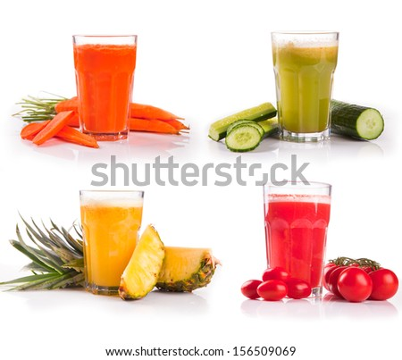 juice collection, carrot, cucumber,tomato, pineapple - stock photo