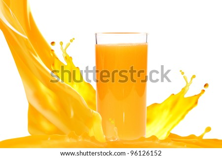 Juice in glass isolated on white background - stock photo