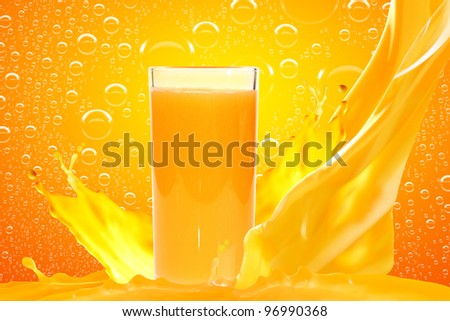 Juice in glass on yellow background - stock photo