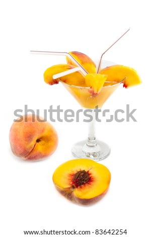 Juice of peaches on a white background