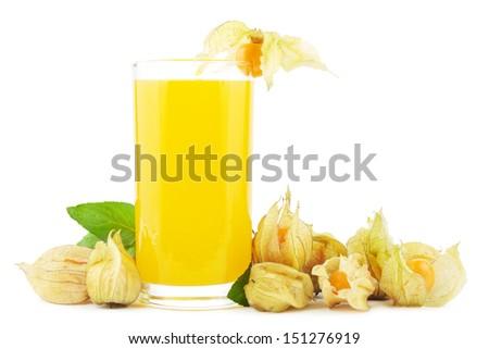 Juice of physalis fruit on white - stock photo