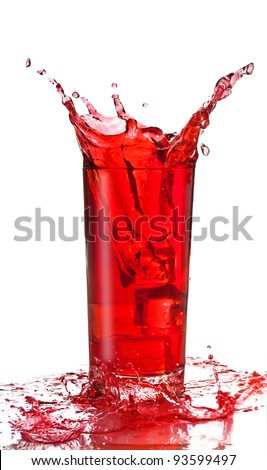 Juice splash in a glass, isolated, white background