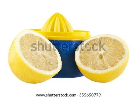 juicer for lemon isolated on white background - stock photo