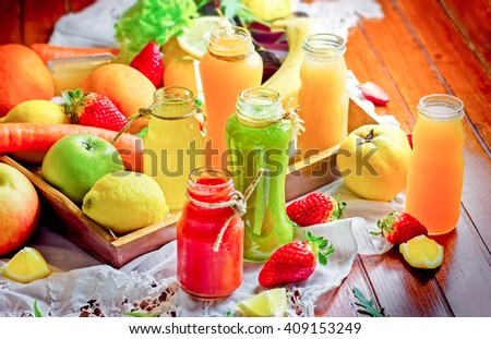 Juices and smoothies - healthy drinks - stock photo