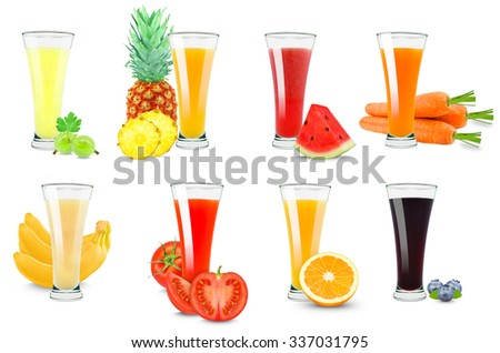 juices collage isolated on white background - stock photo