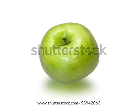 Juicy and ripe green apple closeup on a white background.