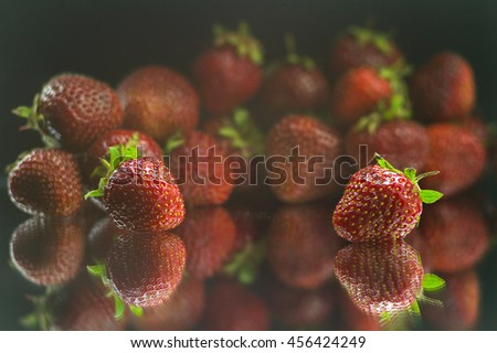 Juicy and ripe strawberries, full of freshness - stock photo