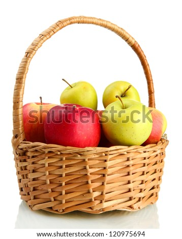 juicy apples in basket, isolated on white