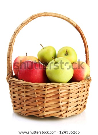 juicy apples in basket, isolated on white - stock photo