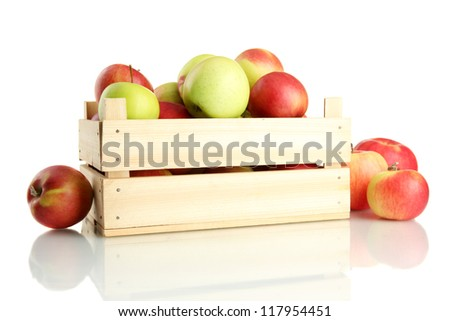 juicy apples in wooden crate, isolated on white - stock photo