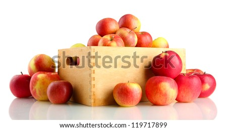 juicy apples in wooden crate, isolated on white