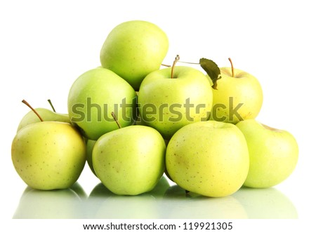 juicy apples, isolated on white - stock photo
