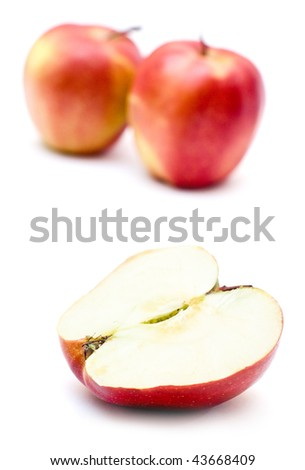 Juicy apples isolated on white background