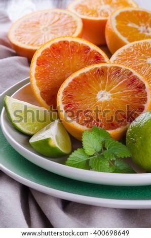 Juicy assorttment of citrus fruits - stock photo