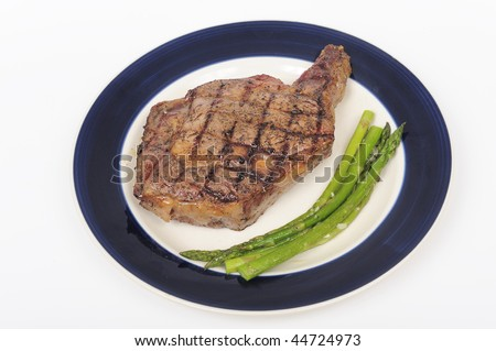 Juicy beef steak with asparagus