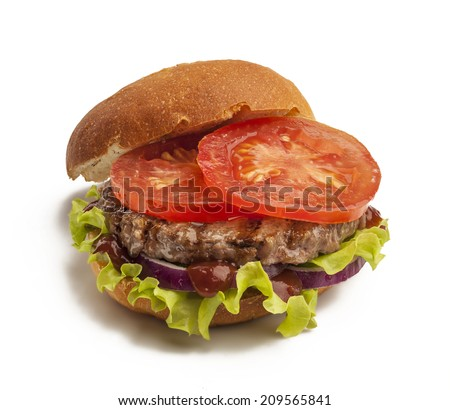 Juicy burger with onion, tomatoes and lettuce isolated on white background - stock photo