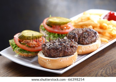 juicy burgers - stock photo