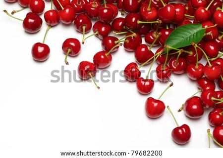 Juicy cherries isolated on white background. - stock photo