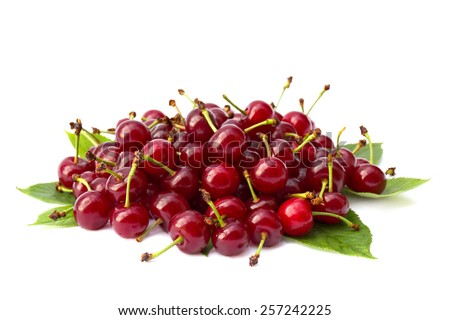 Juicy cherries on white background - stock photo