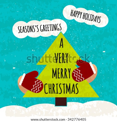 Juicy colorful typographic poster with attributes of the holiday Christmas tree and mittens. Hi Christmas. Warming winter Christmas flyer. illustration - stock photo
