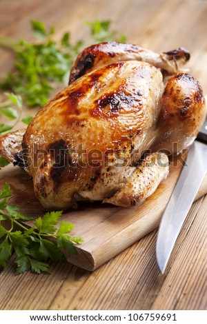 juicy,crispy roast chicken,ready to serve - stock photo