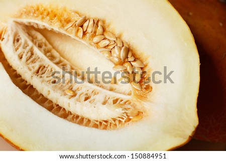 Juicy cut ??melon with seeds