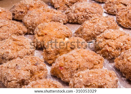 Juicy delicious meat cutlets on a wooden table in a rustic style.Selective focus - stock photo