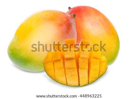 Juicy dessert mango isolated on white background - stock photo