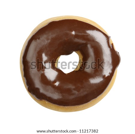 Juicy doughnut with chocolate glacing isolated on white background - shot in studio with 21.1 megapixel camera - stock photo
