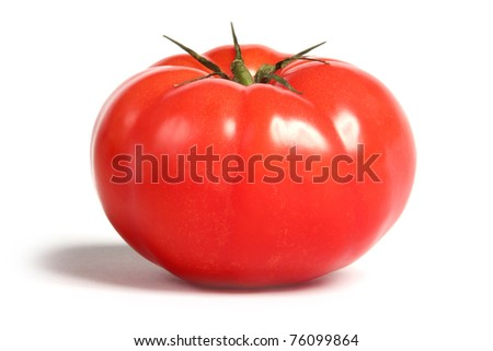 Juicy Farmhouse Tomato, Isolated on white. - stock photo
