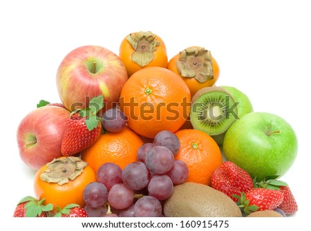 juicy fresh berries and fruits on white background. top view - horizontal photo. - stock photo