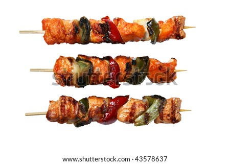 Juicy fresh cooked kabobs isolated on white background. - stock photo