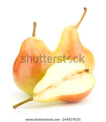 Juicy fresh pears isolated on white background - stock photo
