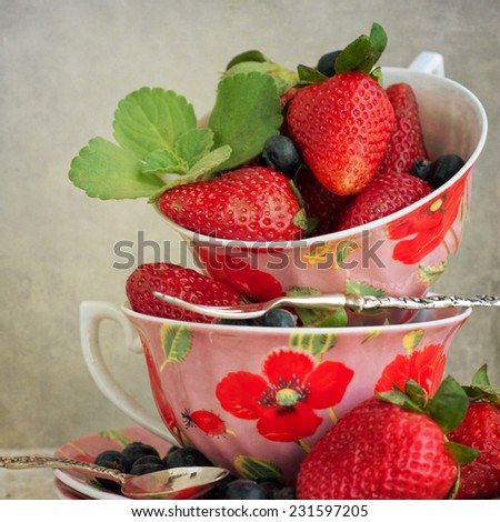 juicy fresh ripe red strawberries - stock photo