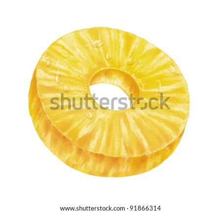 juicy fresh slice of pineapple with white background - stock photo