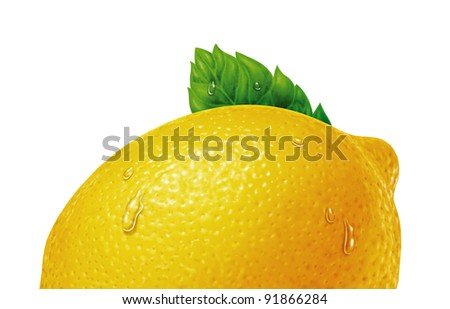 juicy fresh water drops of lemon with white background - stock photo