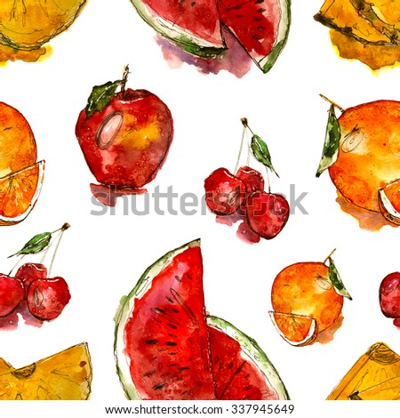 juicy fruits pattern: apple, watermelon, orange, cherry, pineapple. Hand drawn watercolor - stock photo