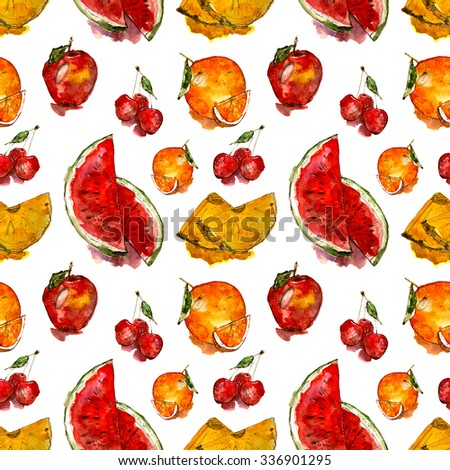 juicy fruits pattern: watermelon. orange, apple, cherry, pineapple, hand drawn watercolor illustration - stock photo