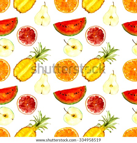 juicy fruits pattern: watermelon, pineapple, orange, pear, apple, grapefruit. Hand-drawn watercolor - stock photo
