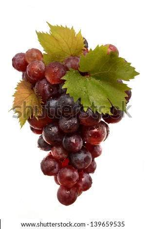 Juicy Grapes on white background - stock photo